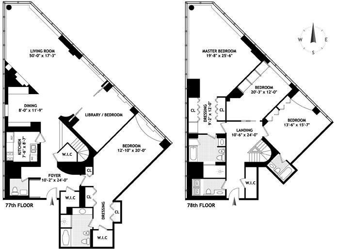 Penthouses with unique floorplan in manhattan new york nyc for Unusual floor plans